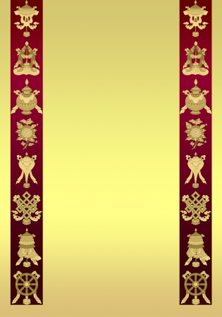 blanck: tibetan Background with 8 auspicious symbols