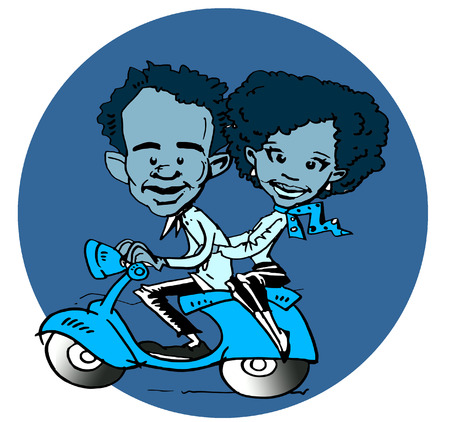 funny couple riding a scooter photo