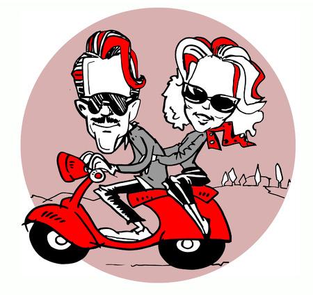 vespa: pareja divertido montar un scooter