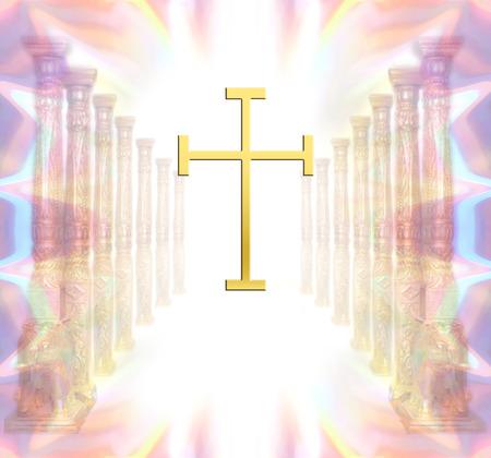 rebirth: christian cross Stock Photo