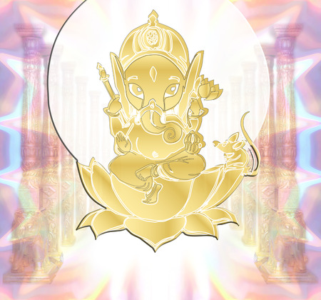 golden Lord Sri Ganesha photo