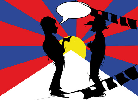 tibetan: silhouette couple with tibetan flag Stock Photo