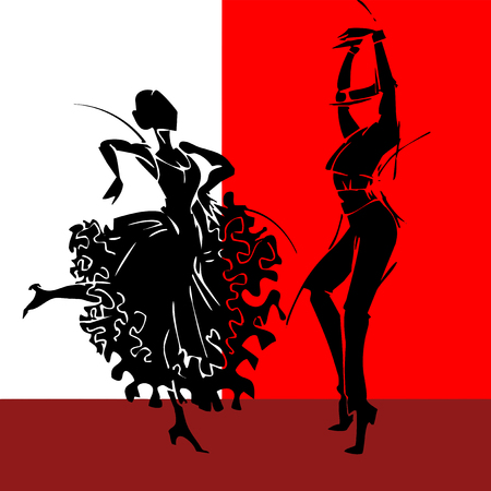 lady in red: Flamenco dancer couple, hand draw silhouette