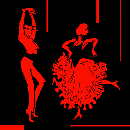 baile: Flamenco dancer couple, hand draw silhouette