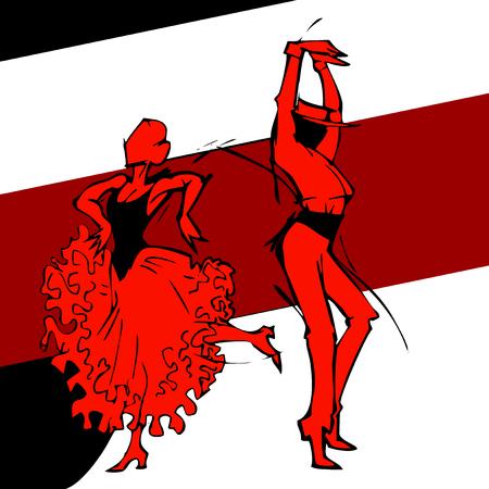 bailando flamenco: Bailarín del flamenco pareja, dibujar a mano silueta Vectores