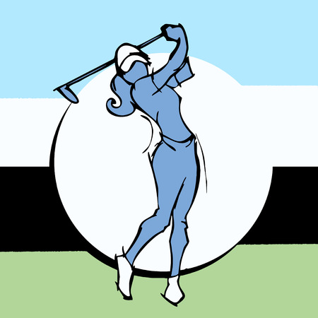 hand draw silhouettes of golf player woman