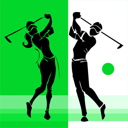 hand draw silhouettes of golf player couple Vetores