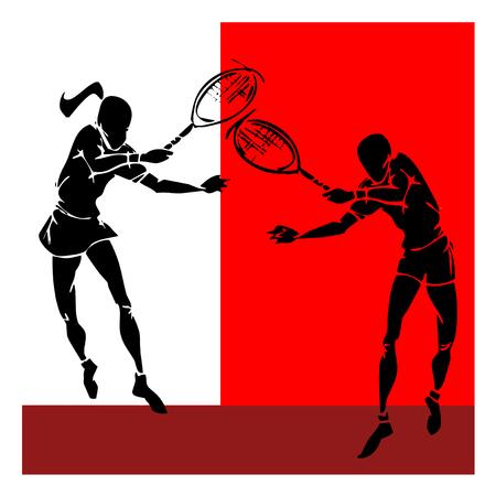 femme dessin: main silhouette tirage de joueur de tennis couple,