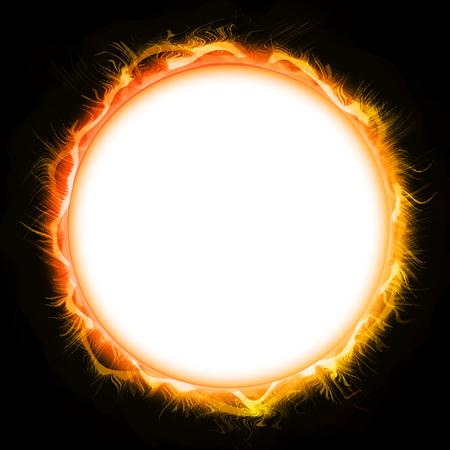 Luminous Circle Mandala, Cosmic Background Stock Photo