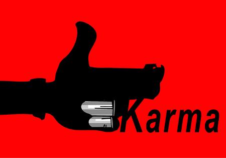 Karma concept: finger gun to mimic a handgun Illustration