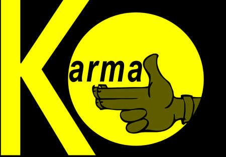 samsara: Karma concept: finger gun to mimic a handgun Illustration