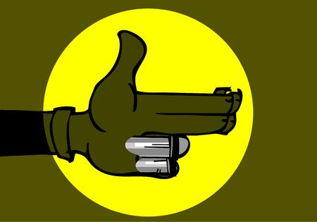Karma concept: finger gun to mimic a handgun.