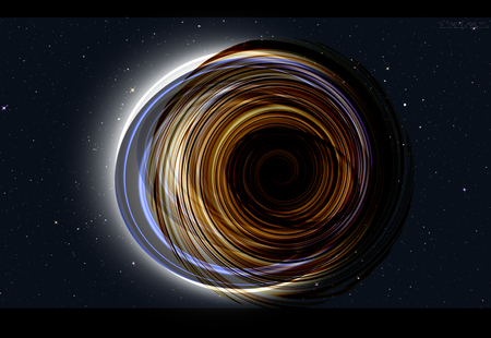 matter: Black hole attracting interstellar matter Stock Photo