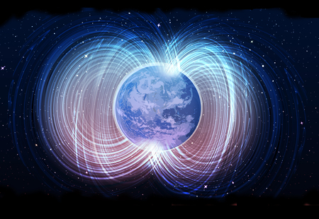 Magnetic field of earth Stockfoto
