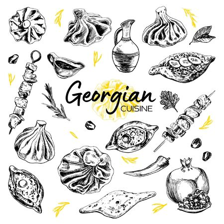 Hand Drawn Georgian Cuisine.