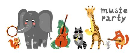 Vector music cartoon animals musicians playing musical instruents. Music concert card, poster Illustration