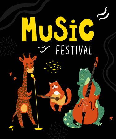 Vector music poster with animals musicians. Giraffe, cat and crocodile plaing musical instruments. Cute illustration, template card