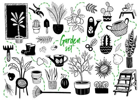 Garden themed doodle set. Hand drawn vector illustration  イラスト・ベクター素材