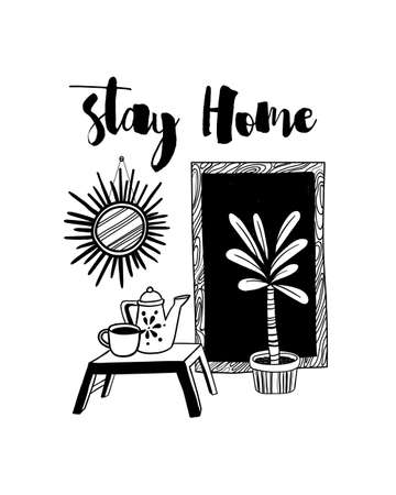 Vector illustration. Lettering quote 'Stay home'. Hand drawn design for card, printing, background. Style monochrome art. Vettoriali