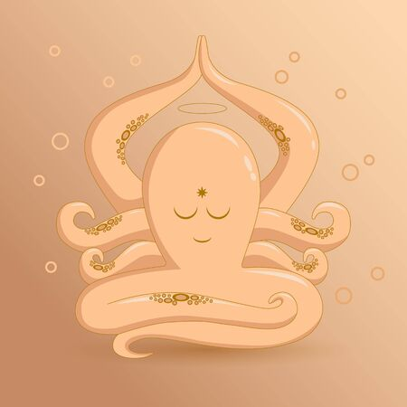 Octopus, meditation, pose, yoga, cartoon in vector Çizim