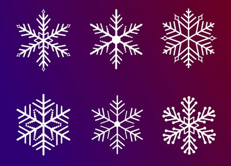 set white snowflake christmas in vector Illustration