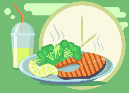 Broccoli and red fish for lunch