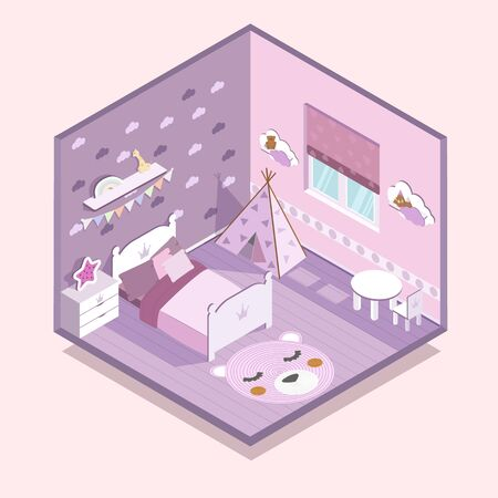 Isometry childrens room girl pink kid EPS 10