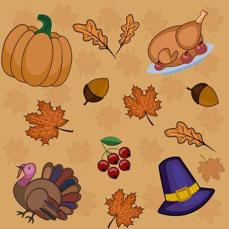 Pattern thanksgiving day autumn, background, pumpkin in vector
