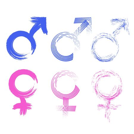 Gender symbols drawn with a brush vector Archivio Fotografico - 133435215