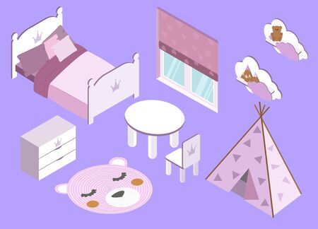 isometry. childrens room for girls. Pink in vector