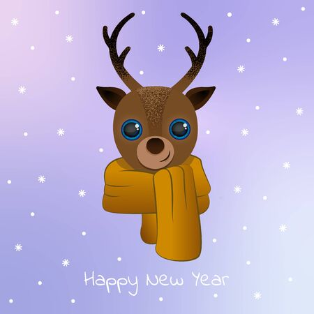 Deer with scarf. happy New Year. Postcard, minimalism and simplicity in vector EPS 10