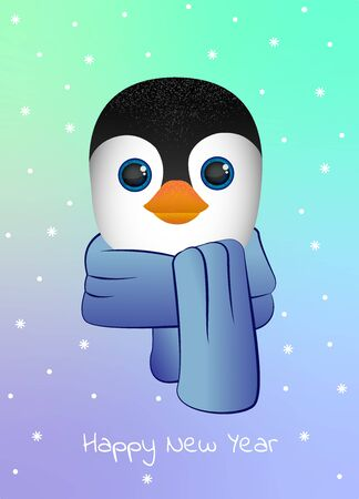 Penguin with scarf. happy New Year. Postcard, minimalism and simplicity in vector