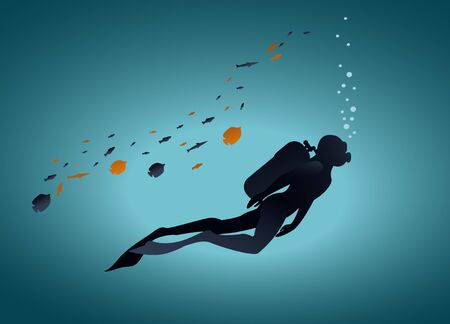 scuba diver at the bottom of the ocean in vector
