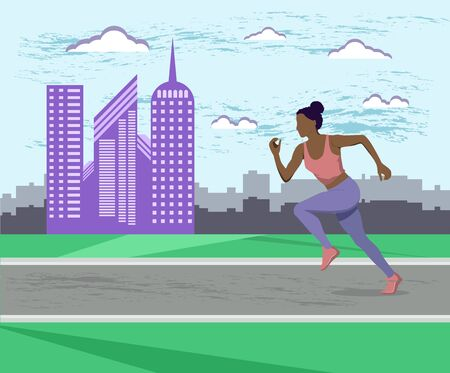 African American girl running in the Park, in the city. Young African American girl on a run in the morning in the city. Sports, fitness. Healthy lifestyle. vector illustration