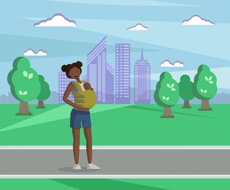 A young African-American mother with a baby in a sling walks in the Park. Cartoon illustration
