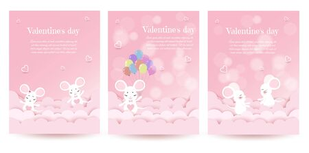 Set valentines day mouse show love, mouse on the background of hearts on Valentines day 14 February Happy valentines day in VECTOR Archivio Fotografico - 136547460