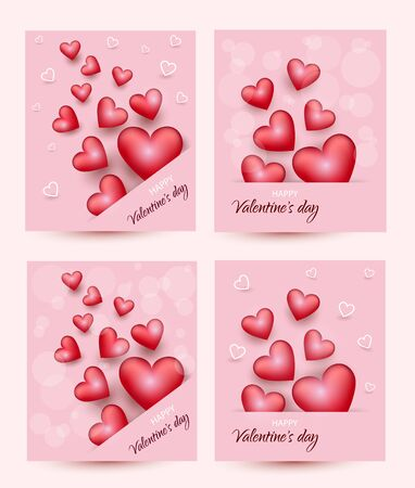 Valentine's day, mouse on pink background, postcard, Valentine's day, February 14 in vector Archivio Fotografico - 136547464