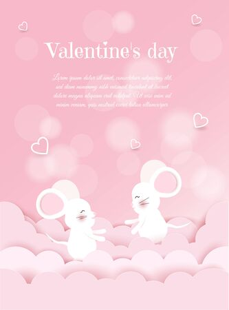 Valentines day, mouse on pink background, postcard, Valentines day, February 14 in vector Archivio Fotografico - 136547468