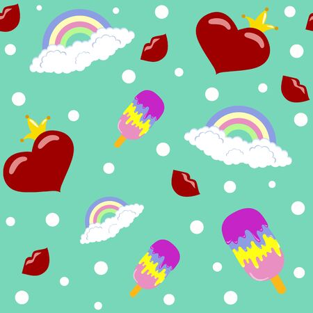 seamless pattern with hearts for Valentine's day vector Archivio Fotografico - 136547469