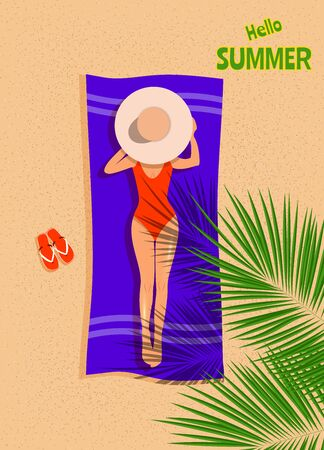 Tanned pretty girl on the beach lies on her back on blue towel under tropical palm trees near water. Young lady in blue swimsuit and sunglasses sunbathing. Top view vector Archivio Fotografico - 138036458