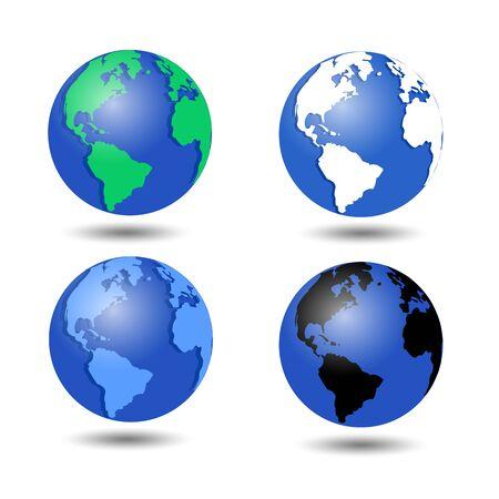 Set di icone del globo vettoriale che mostrano la terra con l'illustrazione vettoriale di tutti i continenti Vettoriali