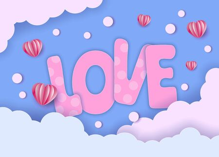 Valentines day card. Big letters LOVE on blue sky background. Vector paper art illustration. Paper cut and craft style. Archivio Fotografico - 136896878