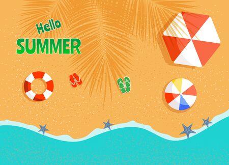 Vector summer background, beach with beach umbrellas, waves vector Archivio Fotografico - 136896932