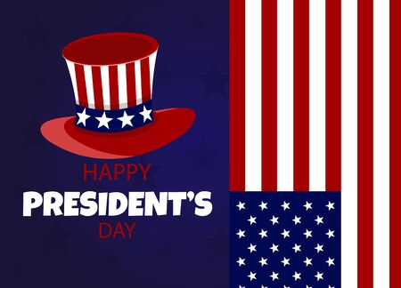 Happy Presidents Day flyer, banner or poster. Holiday background with waving flag in man s hand. Vector flat illustration Archivio Fotografico - 136899052