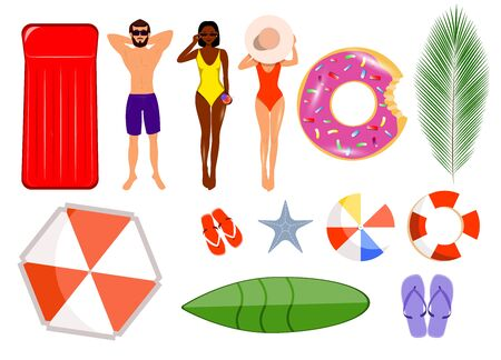 Summer set of isolates. Isolated man, girl in swimsuit, African American woman in cocktail bikini, lifebuoy, palm tree, surfboard, inflatable ring, starfish, flip-flops. Archivio Fotografico - 138036467