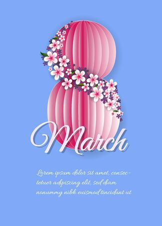 International women's day poster. 8 number 3d illustration. Happy Mother's Day. Eps10 vector illustration with place for your text. Archivio Fotografico - 136900307