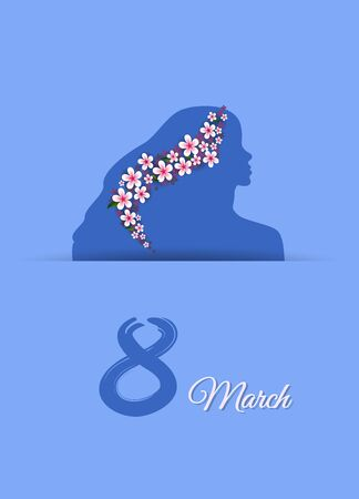 Card for womens day on March 8, female silhouette on a blue background Vector illustration.