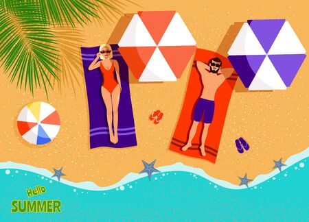 Summer Concept - Couple on the beach top view. Man and Woman sunbathing on beach. vector Archivio Fotografico - 138036472