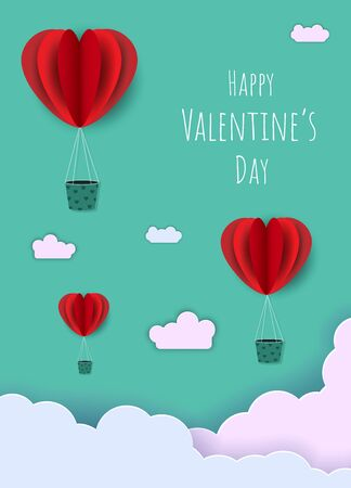 Happy valentines day typography vector illustration design with paper cut red heart shape origami made hot air balloons flying in sky background. Paper art and digital craft style Archivio Fotografico - 136987468