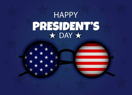 Presidents day USA banner holiday part of the arm of the statue of liberty. President day poster with red and blue design. American glasses